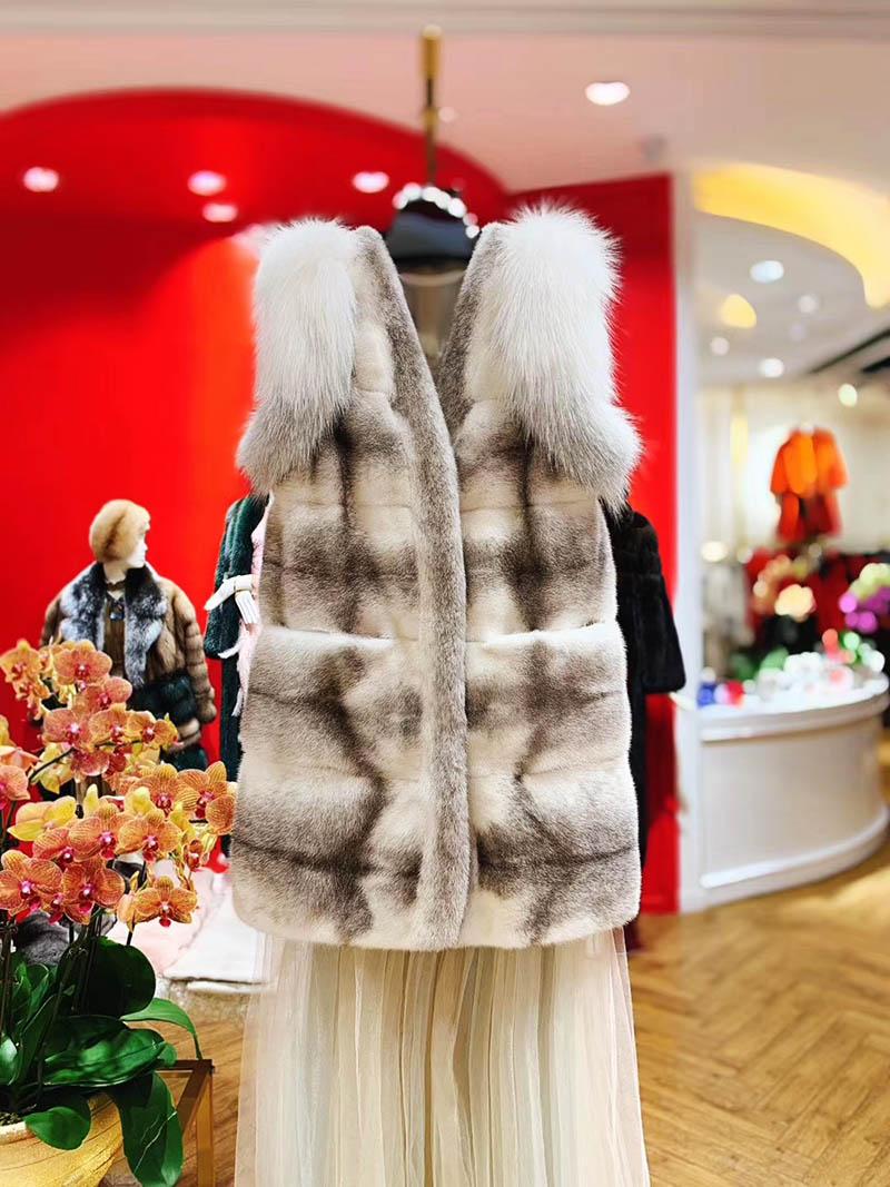 Áo khoác lông tự nhiên kiểu gile dáng ngắn sang trọng A16