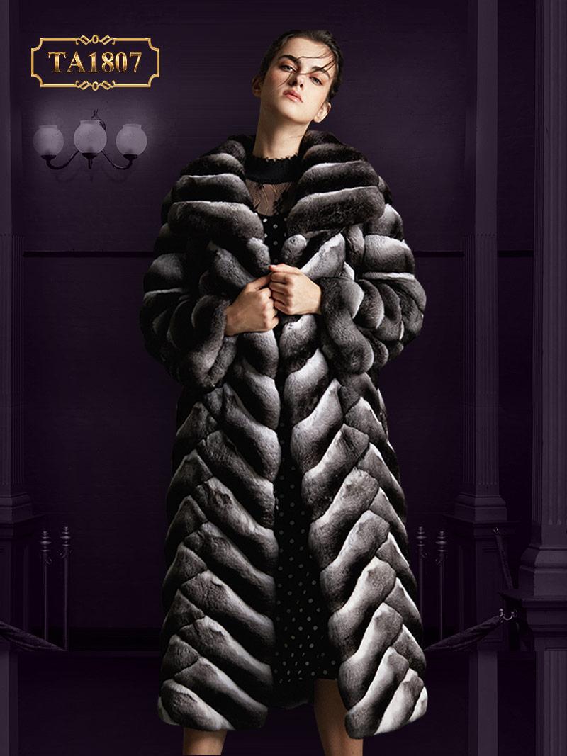Áo khoác lông TA1807  viền sóng dáng thời trang sang trọng
