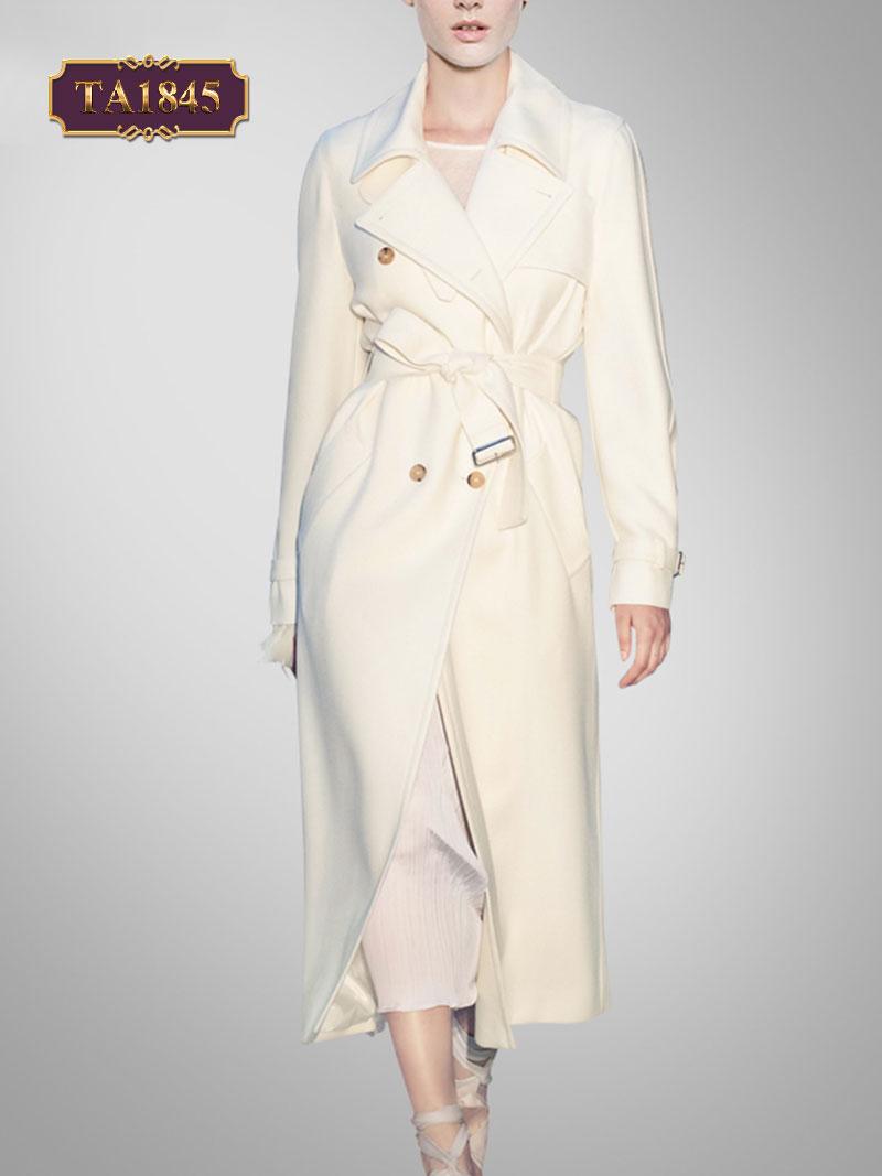 Áo khoác mangto trắng dáng dài phong cách cổ vest đứng thời trang (kèm dây đai) TA1845