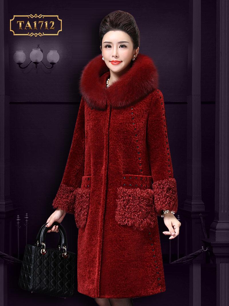 Áo khoác nhung TA1712 mới 2017 mũ lông chấm da cao cấp ( Màu đỏ)