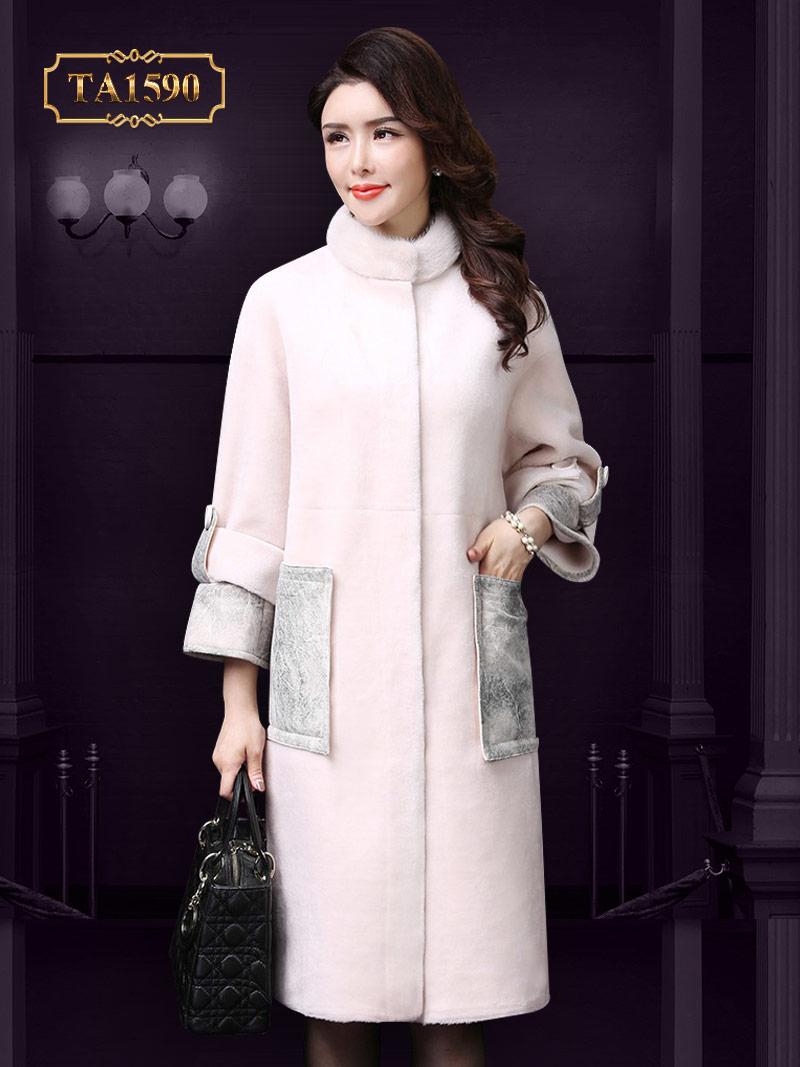 Áo khoác nhung lông TA1590 cao cấp 2017 tay đai phối da thời trang  (Màu kem)