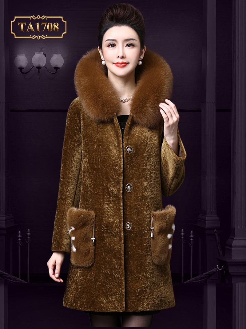 Áo khoác chất nhung TA1708 mới 2017 cổ lông 2 túi cách điệu