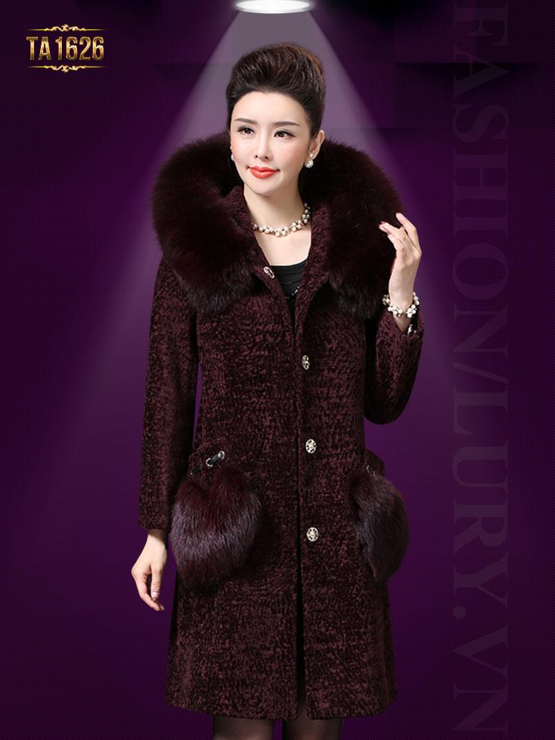 Áo khoác TA1626 mới 2017 chất nhung phối lông màu bã trầu