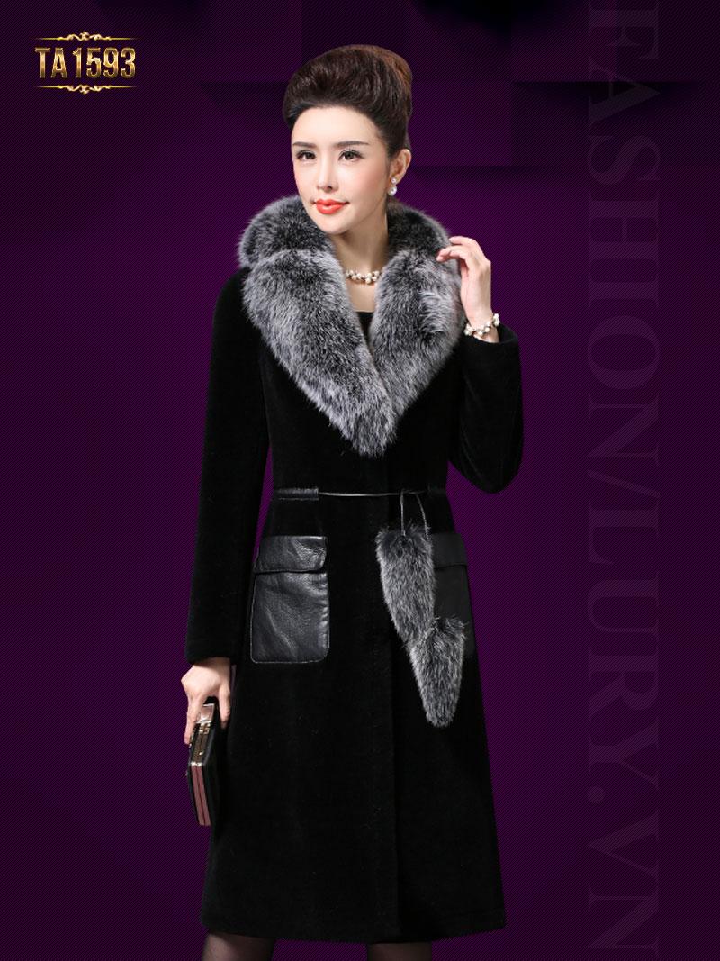 Áo khoác nhung đen TA1593 2017 cổ lông cao cấp túi da sang trọng