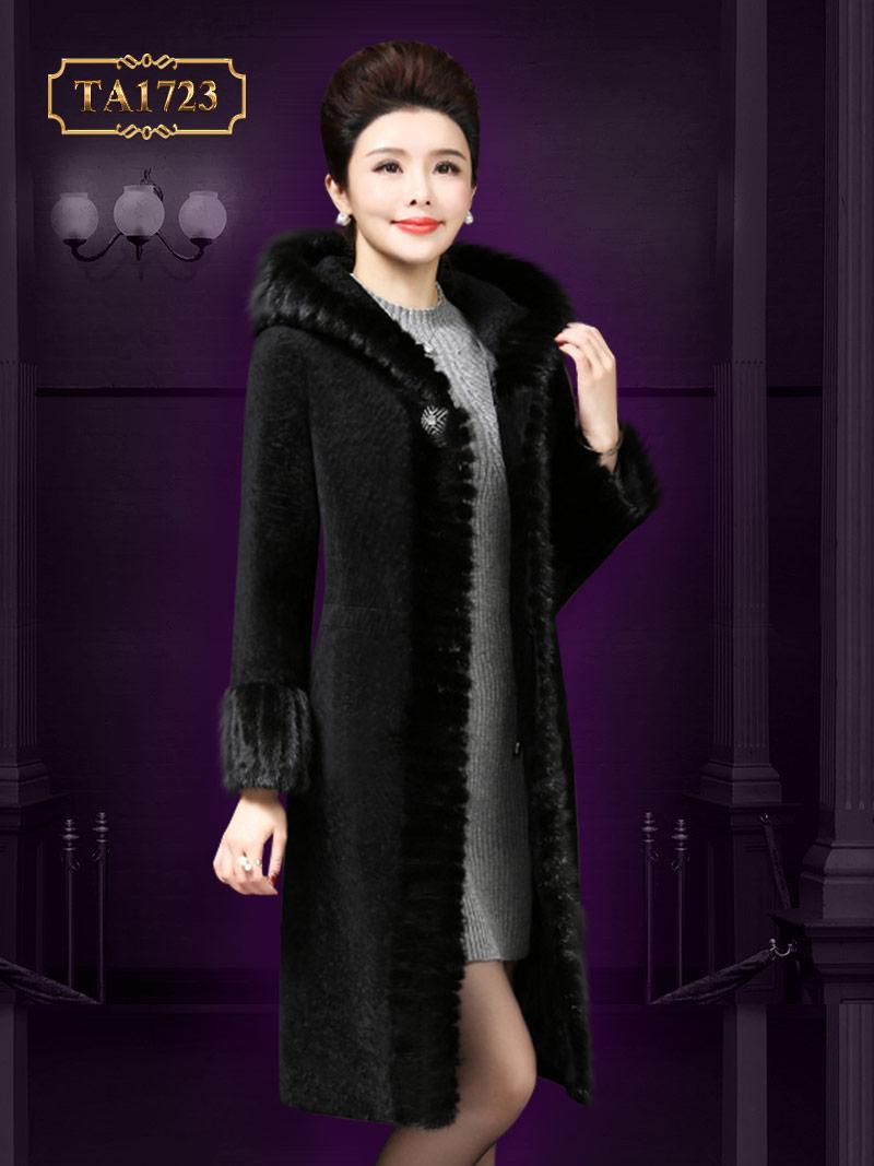 Áo khoác nhung dáng dài TA1723 mới 2017 viền lông màu đen