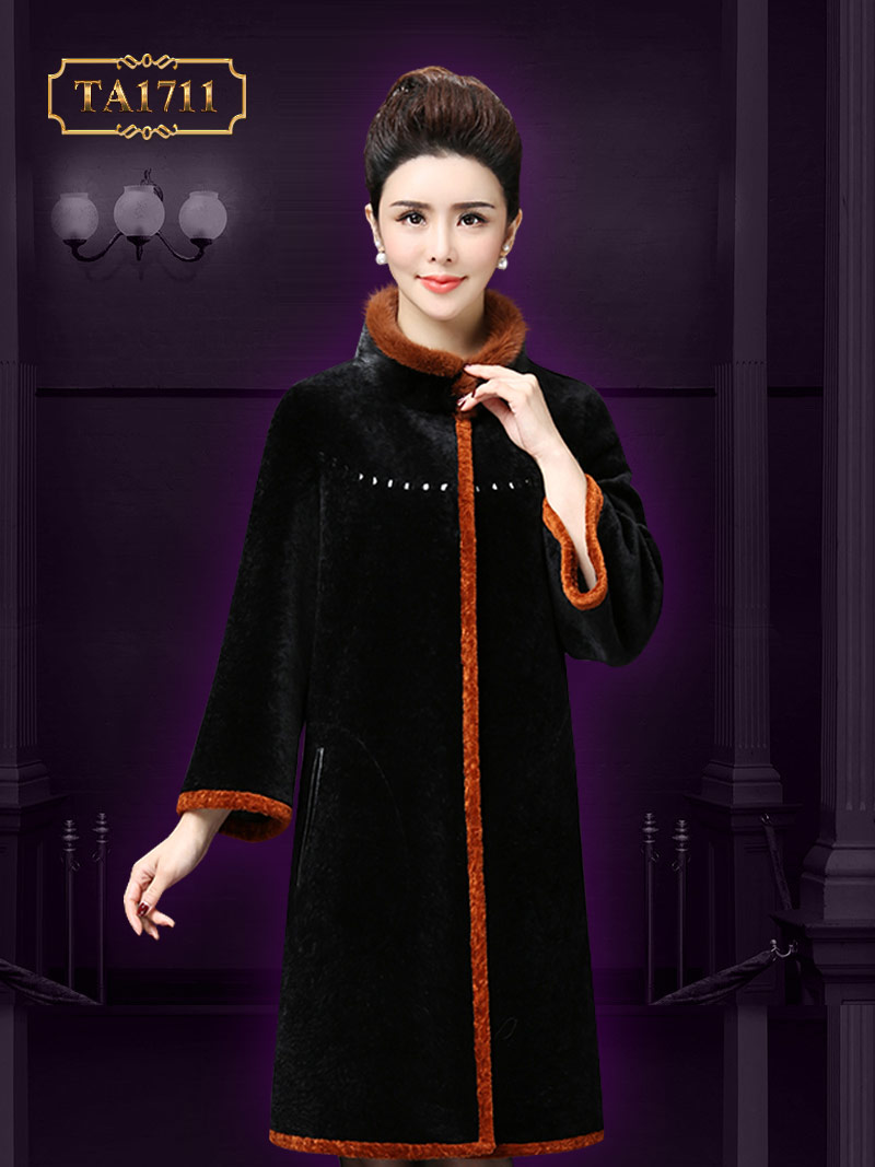 Áo khoác nhung TA1711 mới 2017 màu đen viền cam