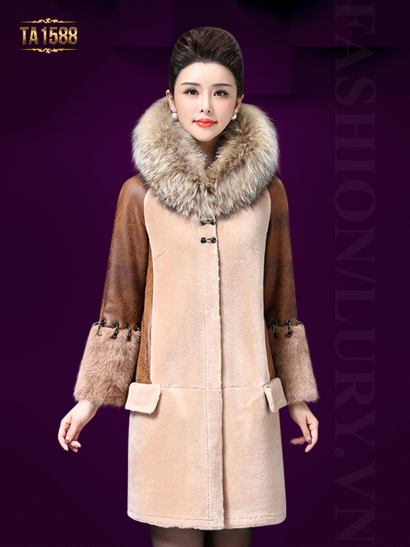 Áo khoác nữ TA1588 2017 chất nhung lông cừu phối da cao cấp