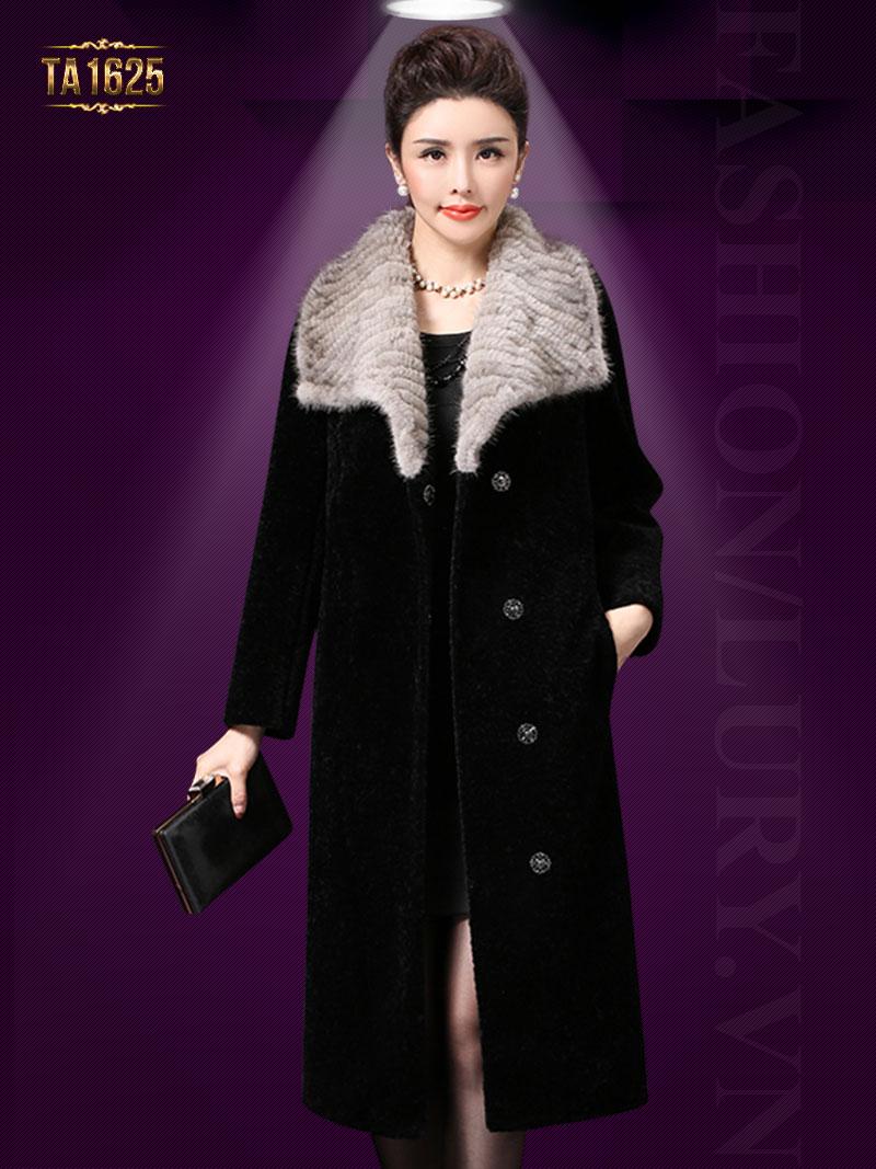 Áo khoác nhung TA1625 mới 2017 phối cổ lông viền ngang cao cấp
