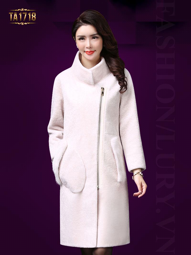 Áo khoác nhung TA1718 mới 2017 túi phối lông khóa kéo trước (Màu trắng)