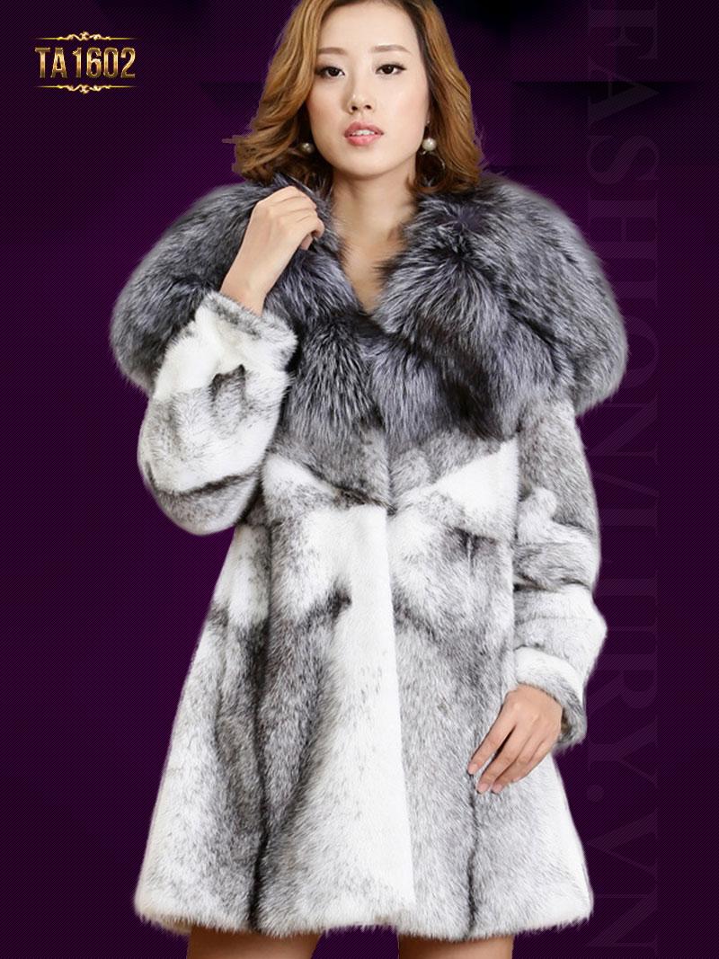 Áo khoác TA1602 mới nhất 2017 cổ phối lông tự nhiên bản to cao cấp