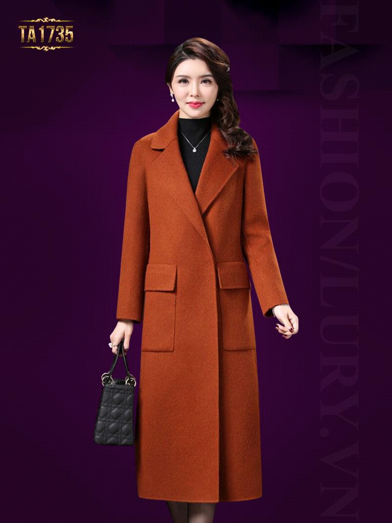 Áo khoác dạ dài TA1735 kiểu cổ vest túi hộp cao cấp 2017 (Màu cam)