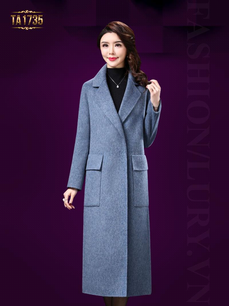 Áo khoác dạ dài TA1735 kiểu cổ vest túi hộp cao cấp 2017 (Màu xanh)