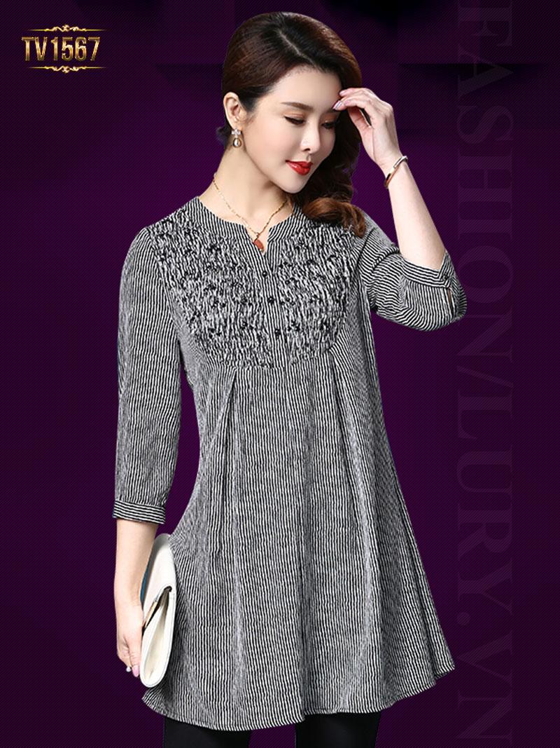 Áo váy họa tiết đen trắng tay lửng cao cấp TV1567