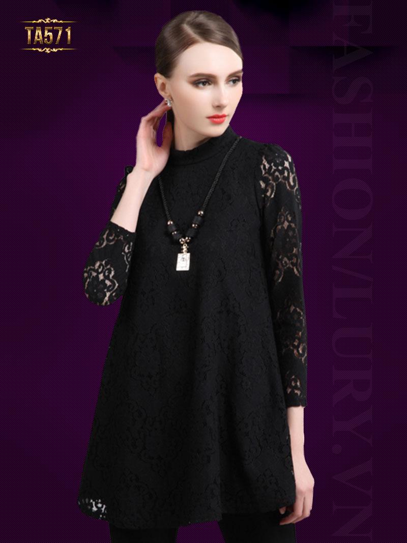 Áo váy ren họa tiết cổ trụ đẹp TA571 (Màu đen)
