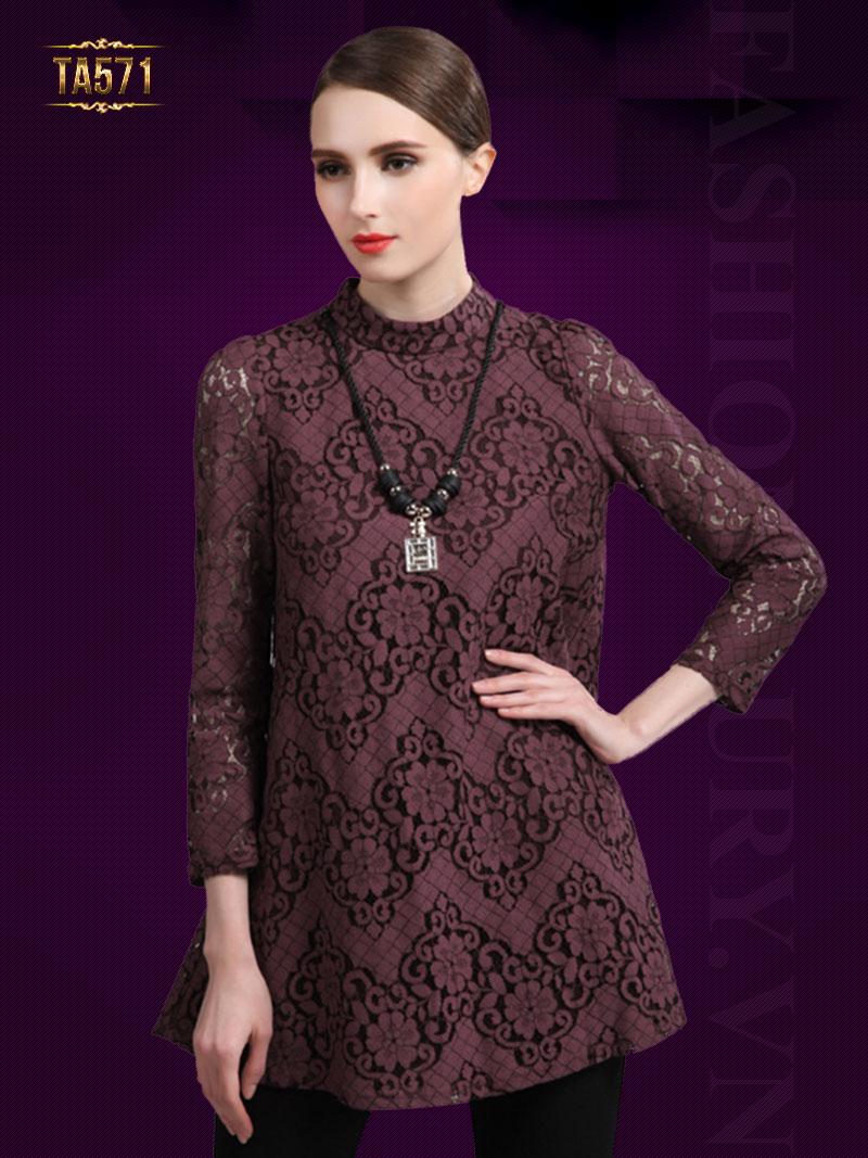 Áo váy ren họa tiết cổ trụ đẹp TA571 (Màu đỏ)