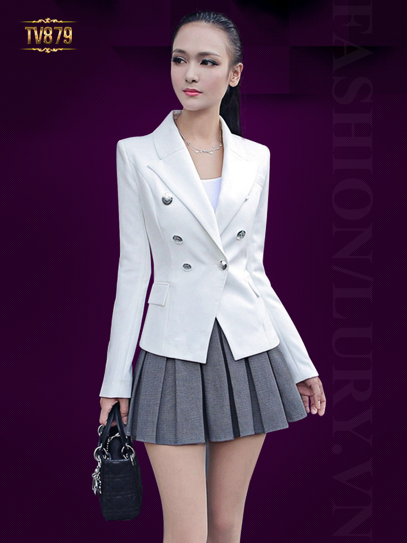 Áo vest nữ trắng cao cấp tay đính cúc TA879