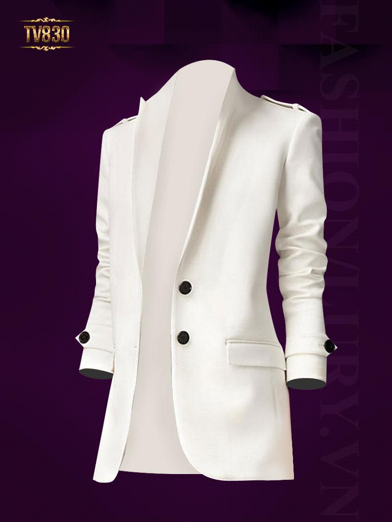 Áo vest nữ màu trắng 2 cúc đen cao cấp TV830