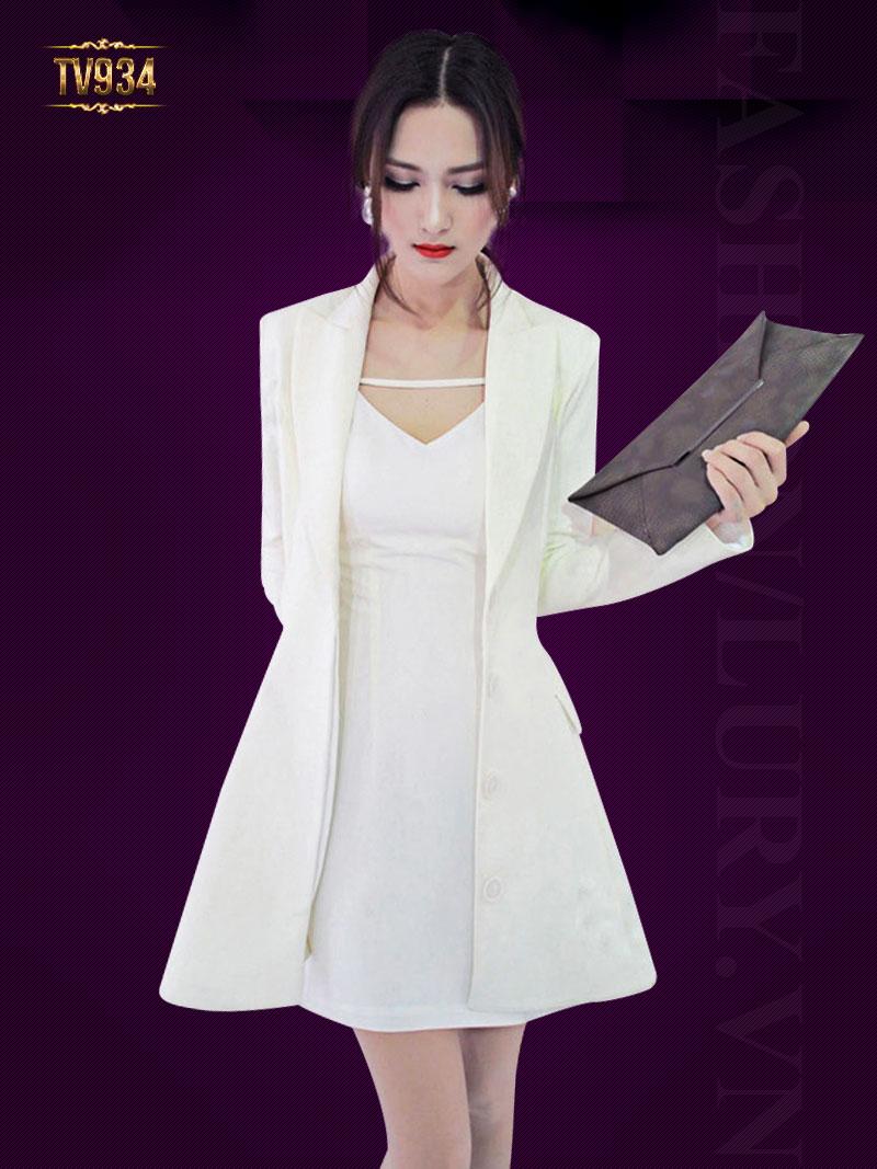 Áo vest trắng HQ dáng dài hai túi chiết eo tôn dáng TA934