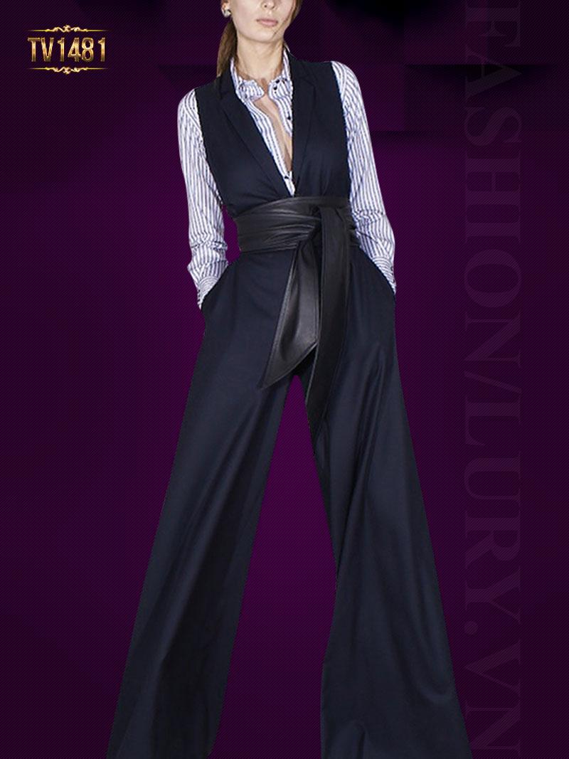 Bộ jumpsuit culottes dáng dài kèm đai to bản cao cấp TV1481