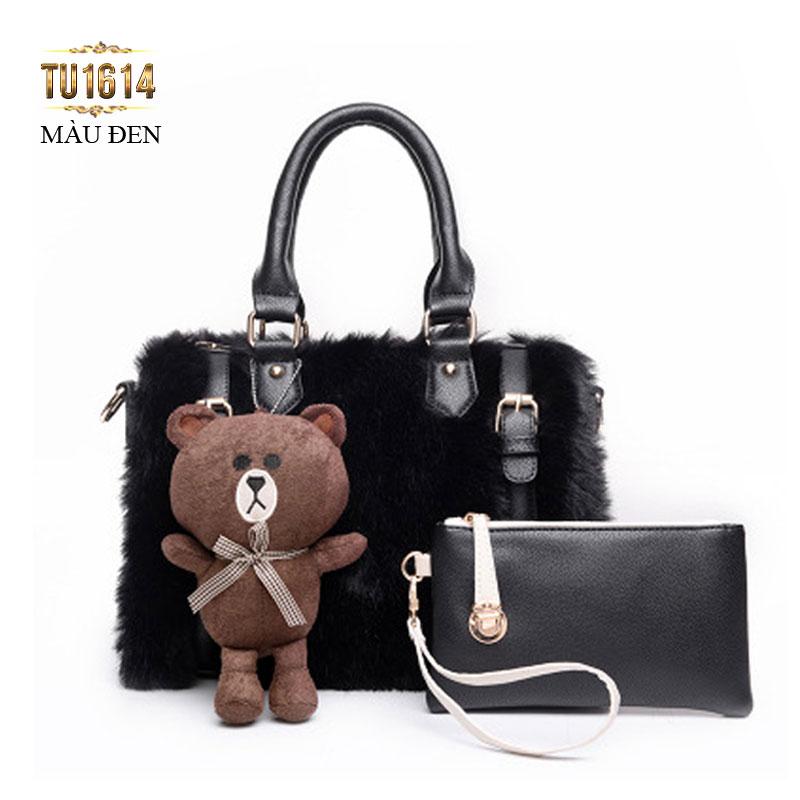 Bộ túi lông con gấu thời trang TU1614 (Màu đen)