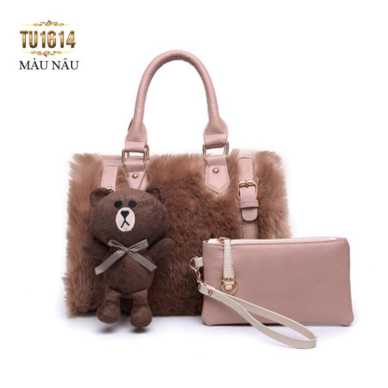 Bộ túi lông con gấu thời trang TU1614 (Màu nâu)
