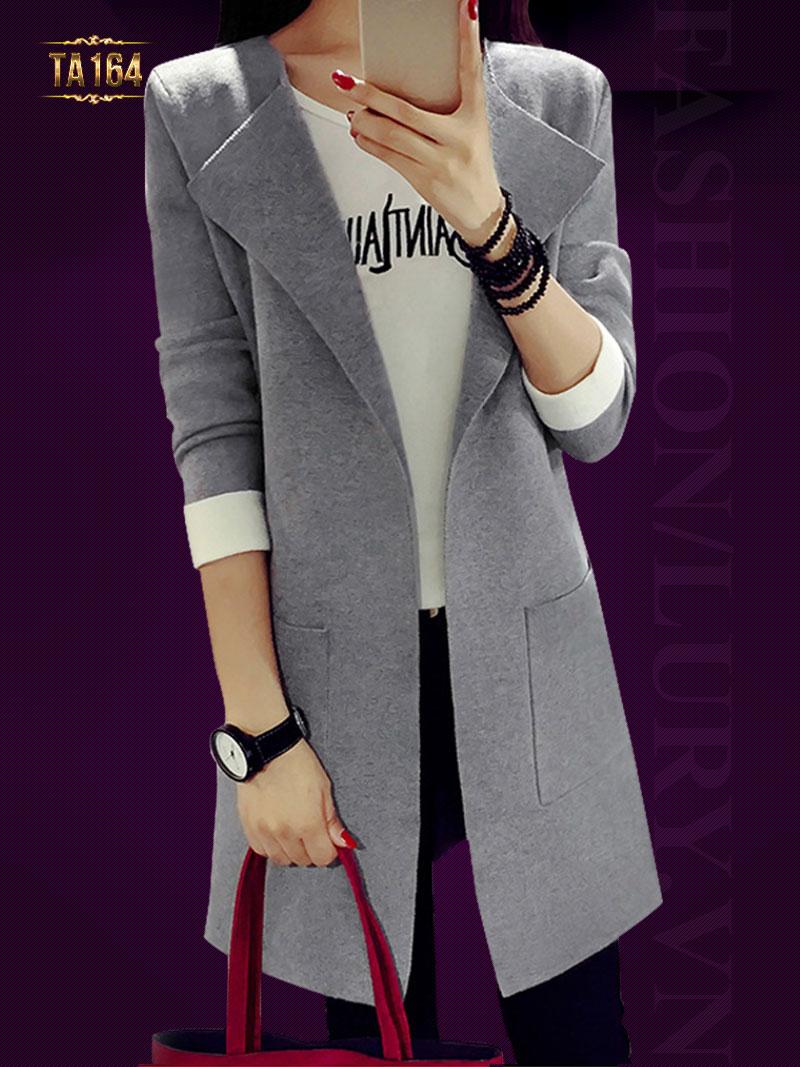 Cardigan len dáng dài cổ vest 2 túi TA164