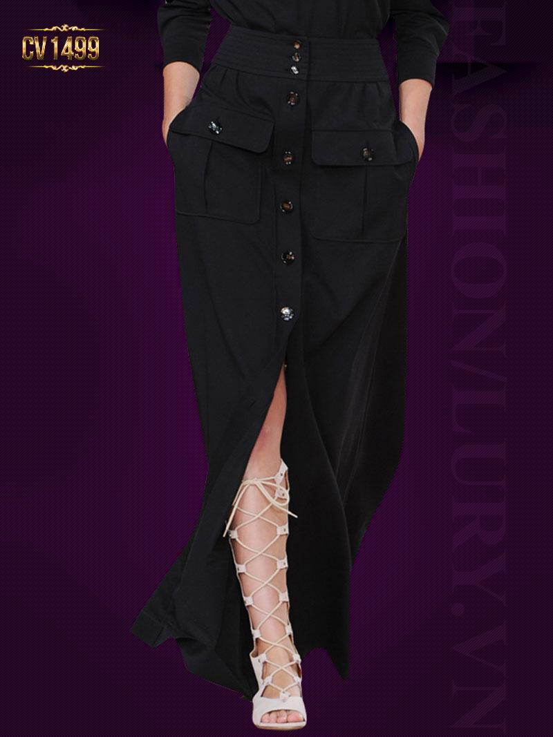 Chân váy cạp cao 2 túi khuy trước cá tính CV1499