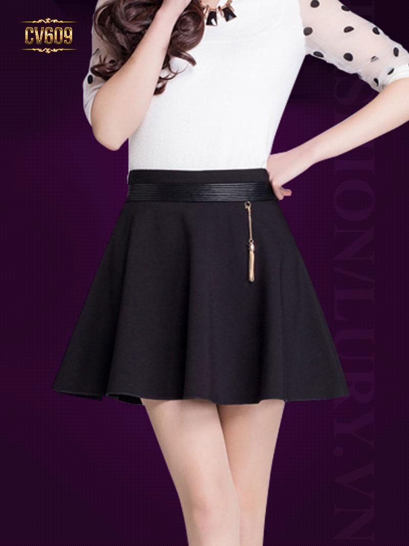 Chân váy chữ A cao cấp kèm dây móc đẹp CV609