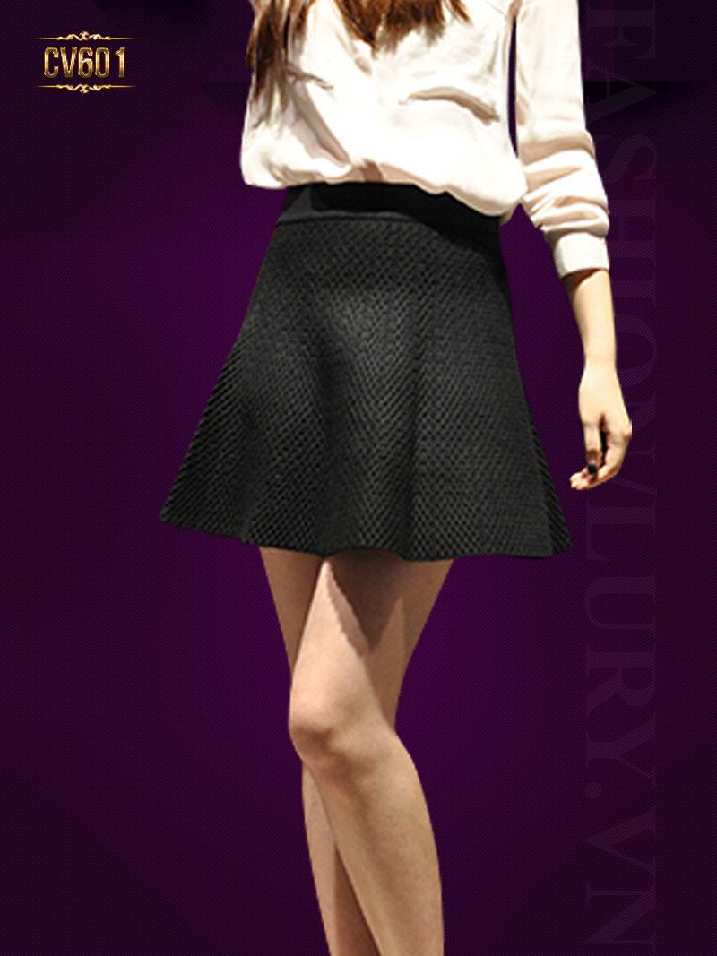 Chân váy chữ A vân nổi đẹp CV601 (Màu đen)