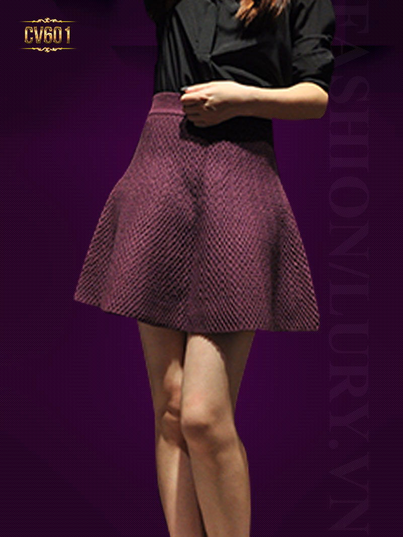 Chân váy chữ A vân nổi đẹp CV601 (Màu đỏ)