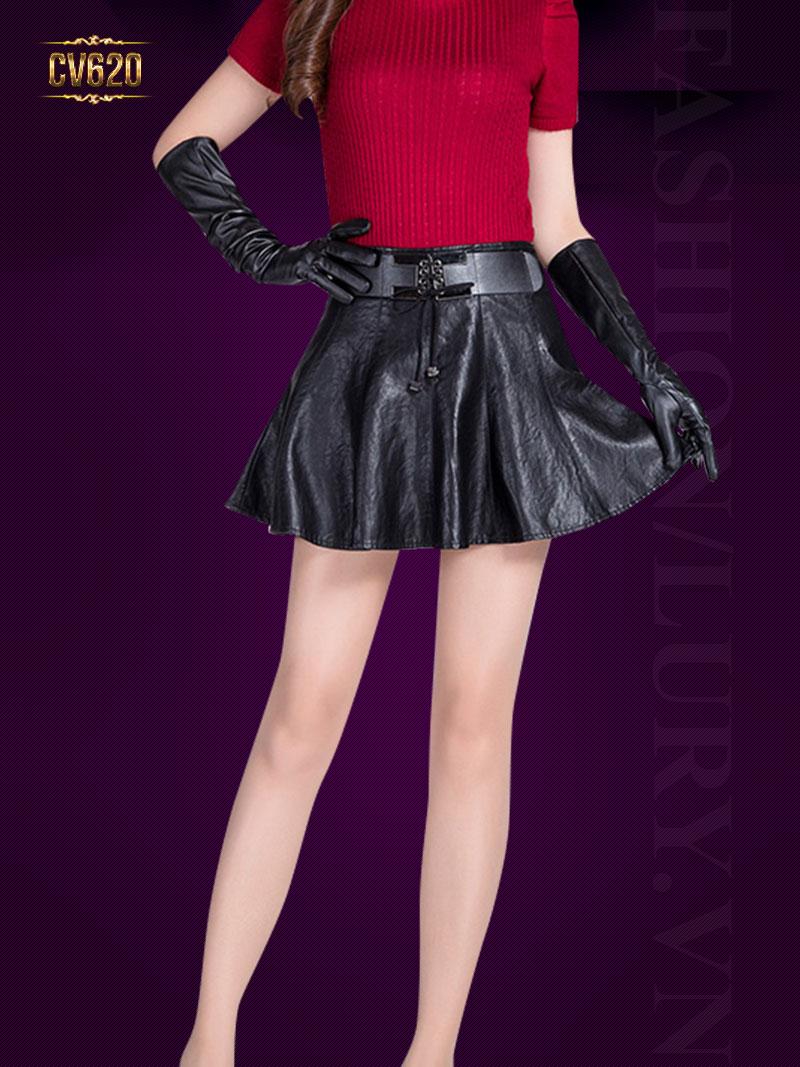 Chân váy da Hàn Quốc phối đai CV620