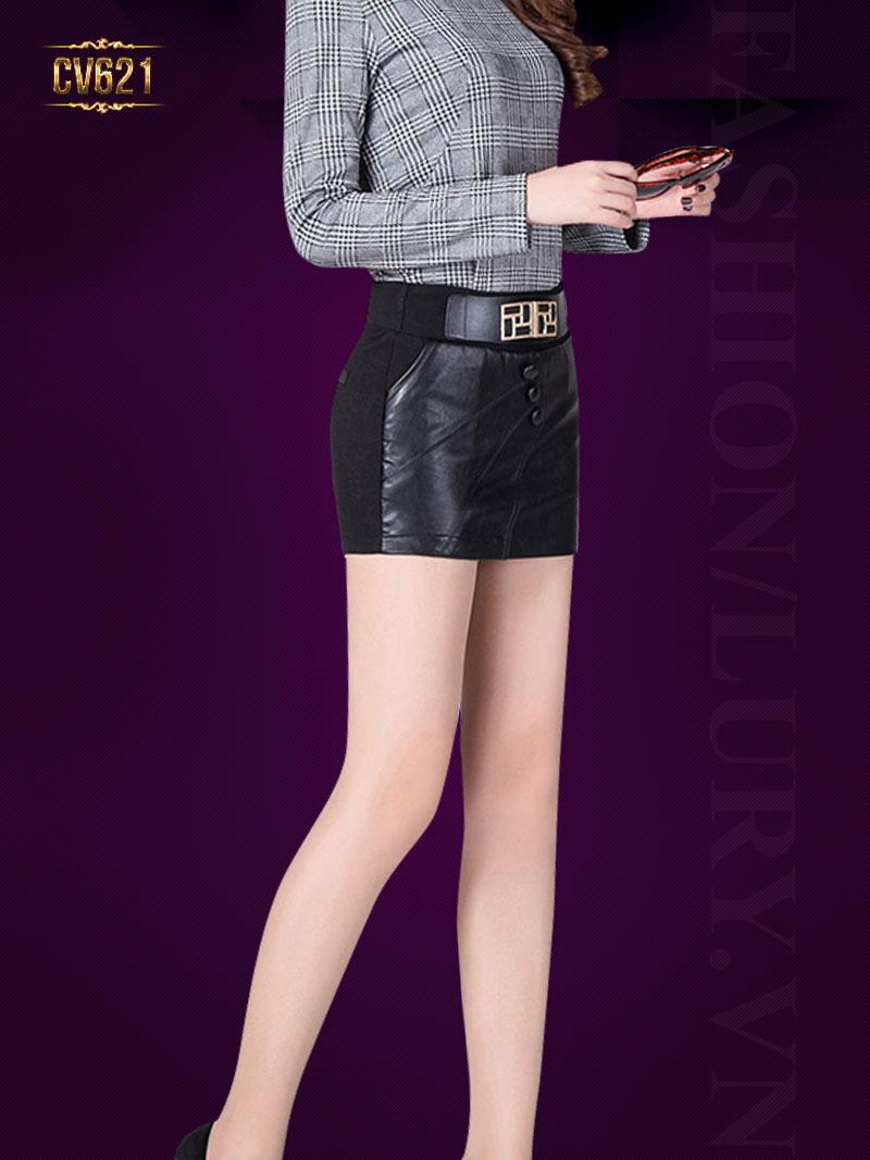 Chân váy da ngắn 3 khuy đẹp CV621