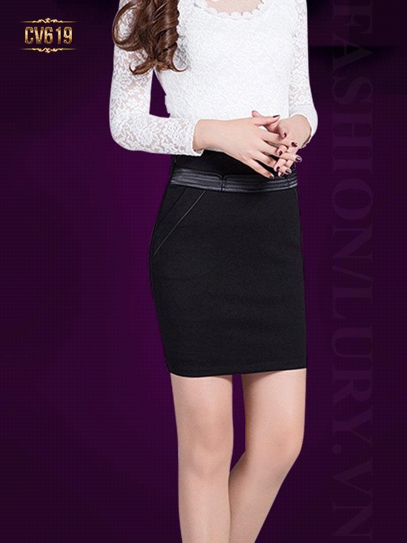 Chân váy đen cạp đáp viền da cao cấp CV619