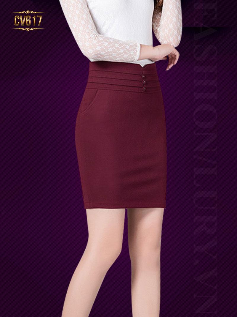 Chân váy đỏ ôm 3 cúc cao cấp CV617