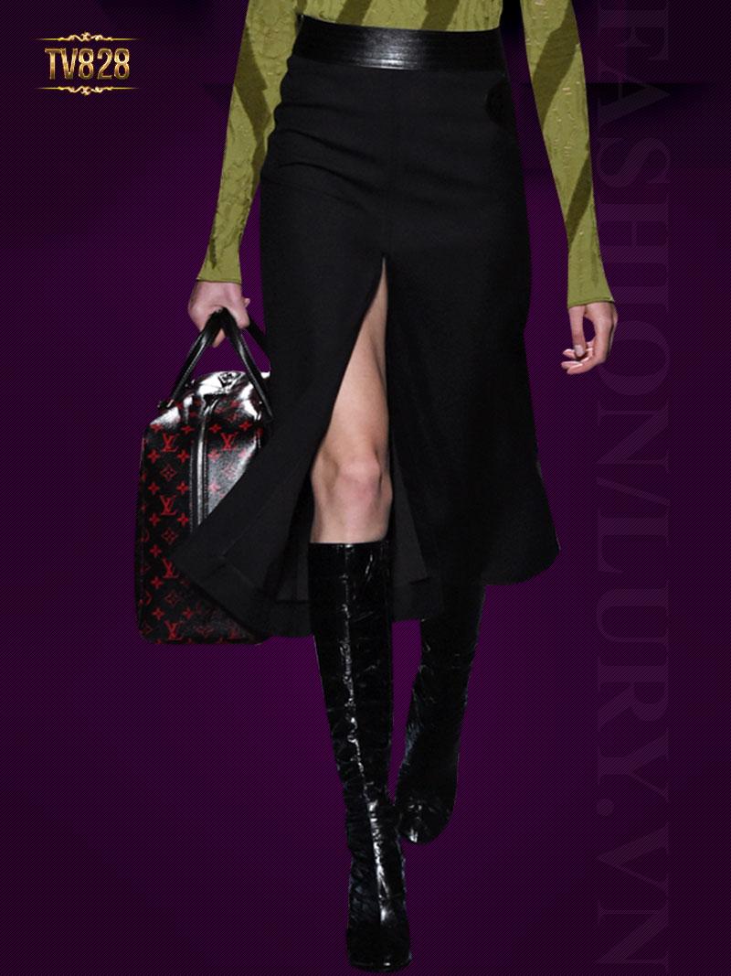 Chân váy Hàn Quốc xẻ vạt trước đai da thời trang TV828