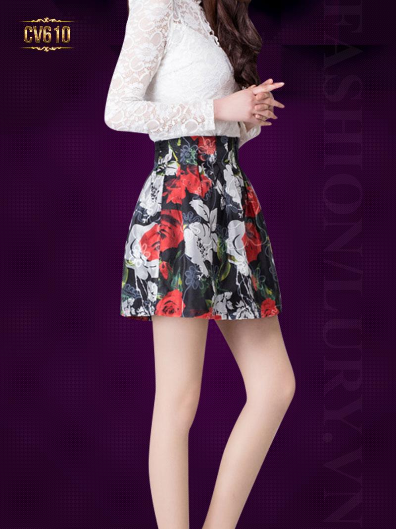 Chân váy hoa Hàn Quốc cao cấp CV610