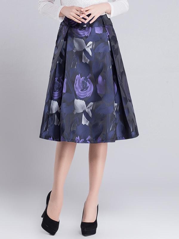 Chân váy hoa midi cạp cách điệu CV614