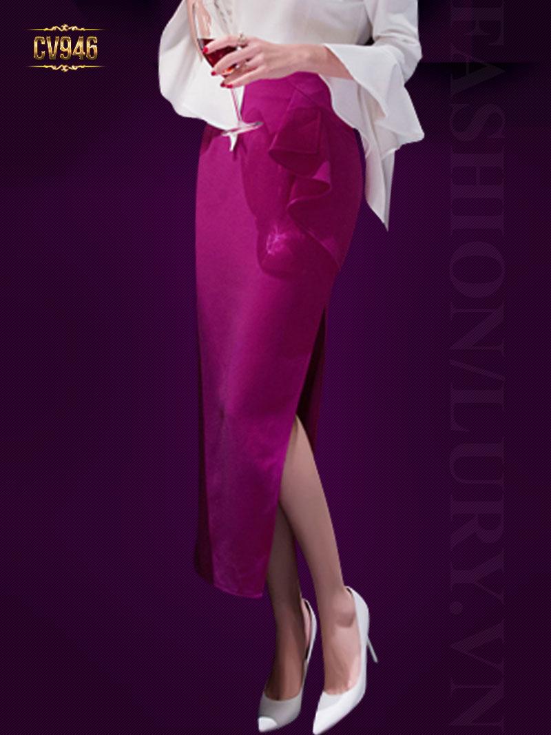 Chân váy hồng dáng dài xẻ vạt bèo lệch cao cấp CV946