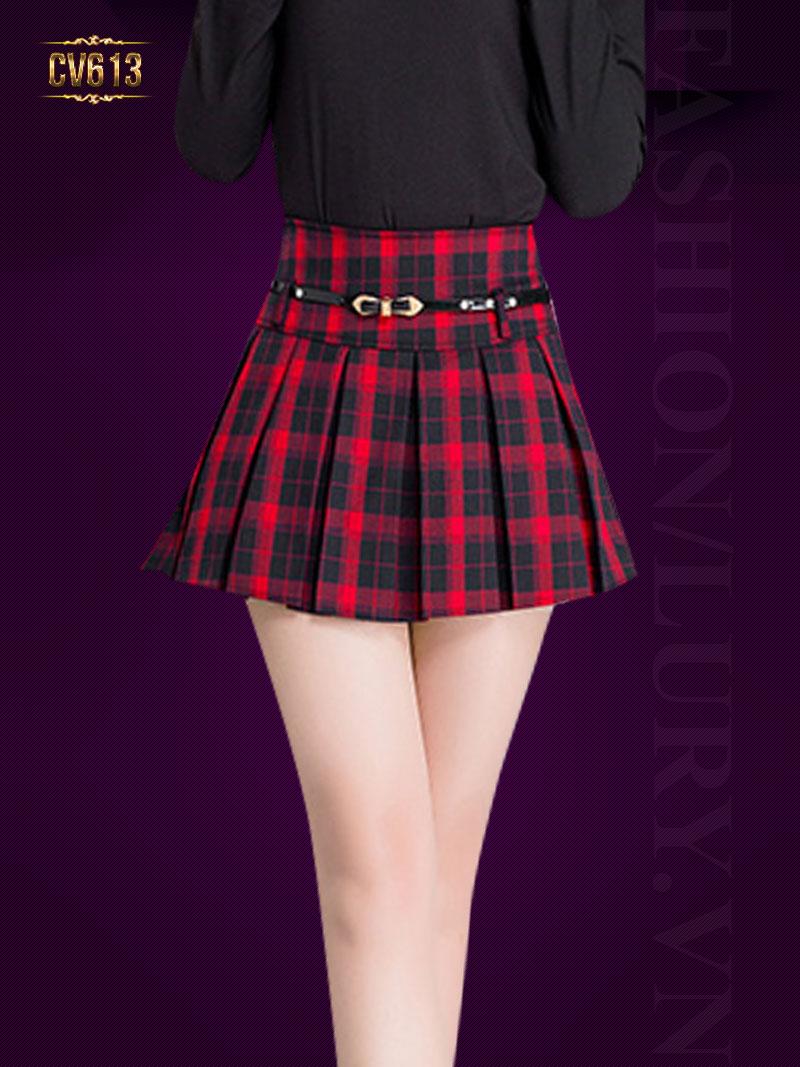 Chân váy kẻ caro đẹp CV613 (Kẻ đỏ)