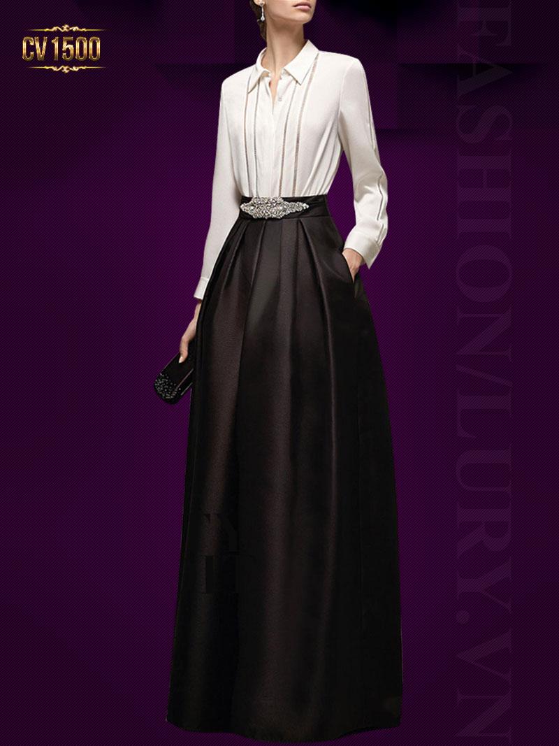 Chân váy midi đen 2 cúc dáng dài thời trang CV1500