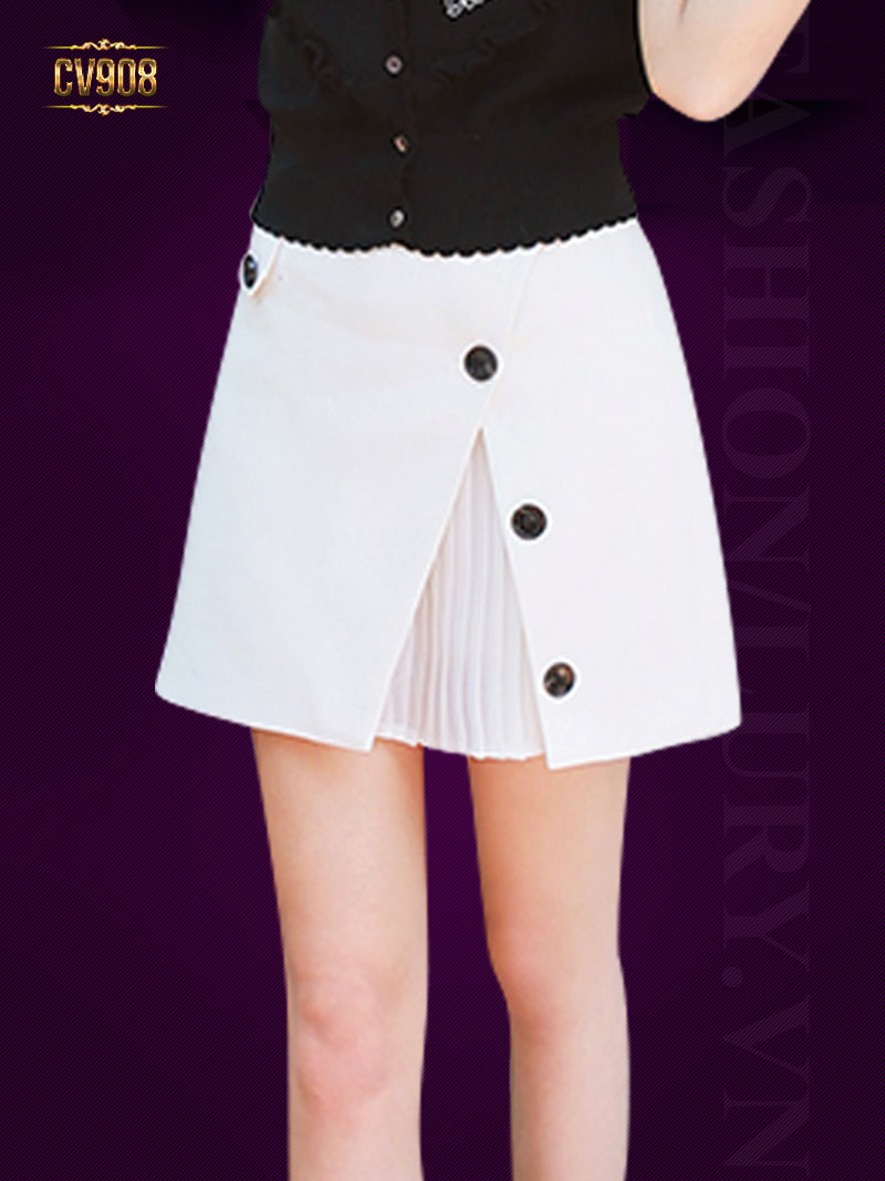 Chân váy ngắn 2 lớp xếp li trong thời trang CV908 (Màu trắng)