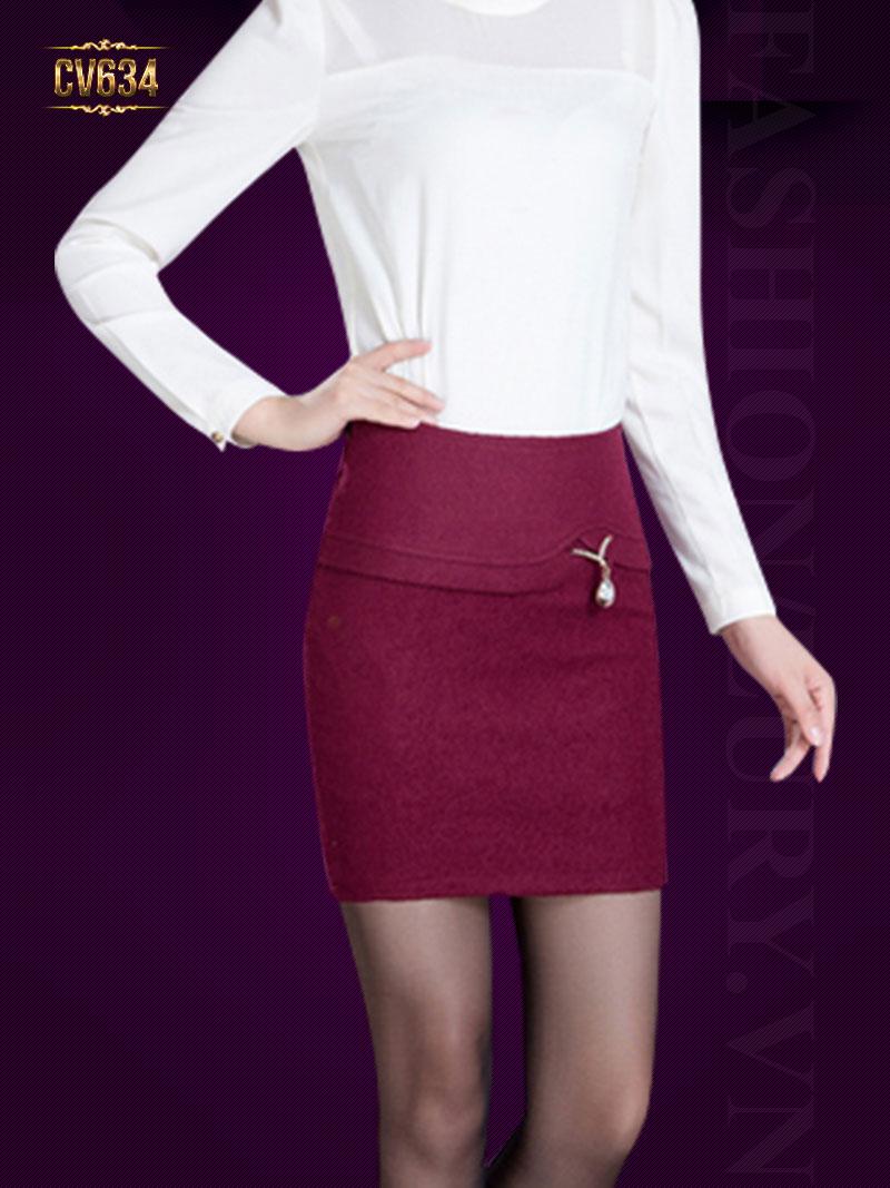 Chân váy ôm đính hạt đẹp CV634 (Màu đỏ)