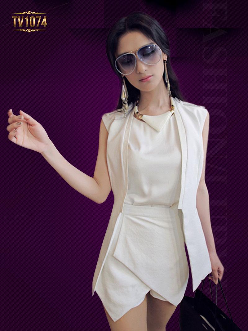 Chân váy trắng phối vạt lệch TV1074