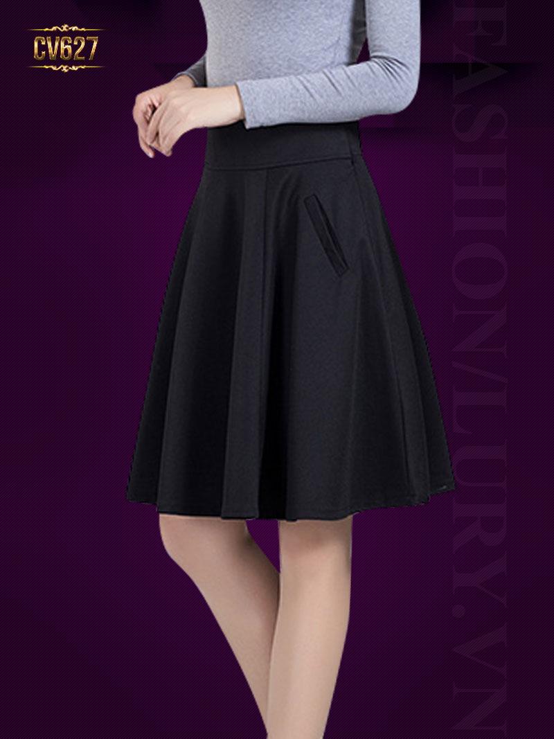 Chân váy xòe 2 túi vát cao cấp CV627 (Màu đen)
