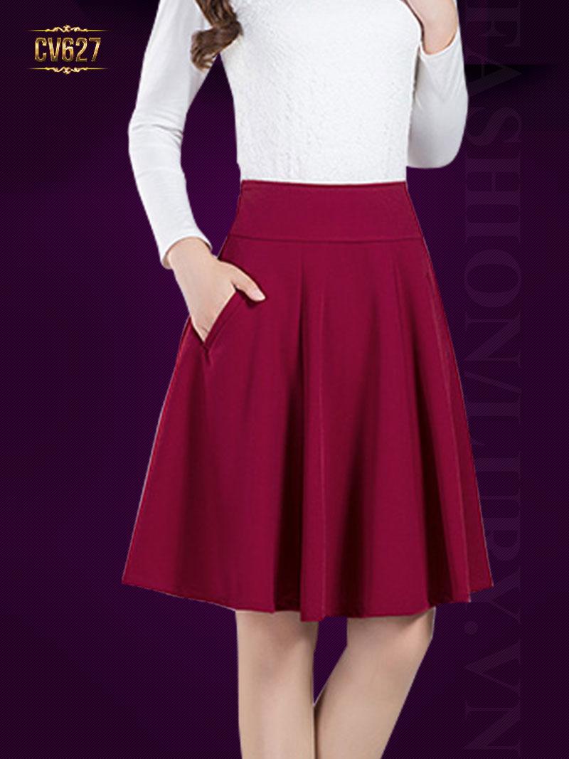 Chân váy xòe 2 túi vát cao cấp CV627 (Màu đỏ)