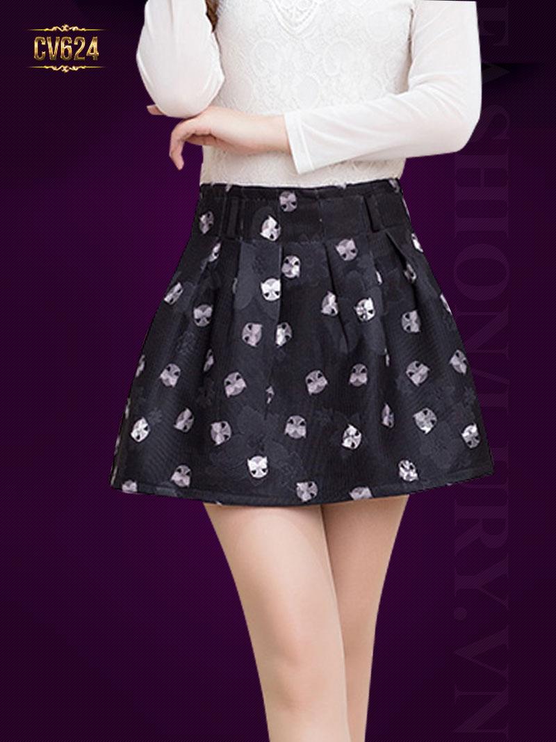 Chân váy xòe họa tiết cao cấp CV624