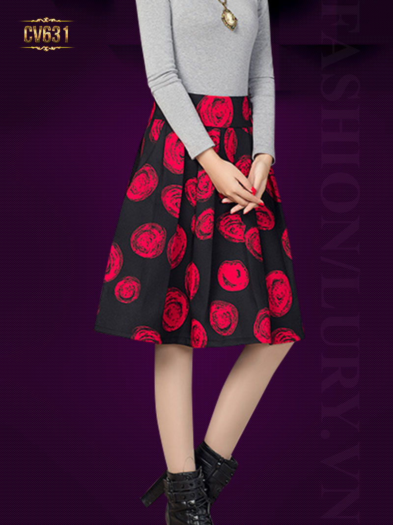 Chân váy xòe midi họa tiết đỏ cao cấp CV631