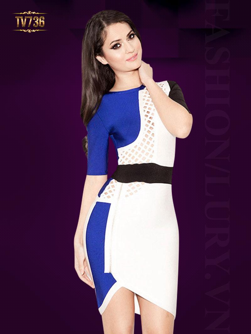 Đầm body hai màu phối lưới thời trang TV736