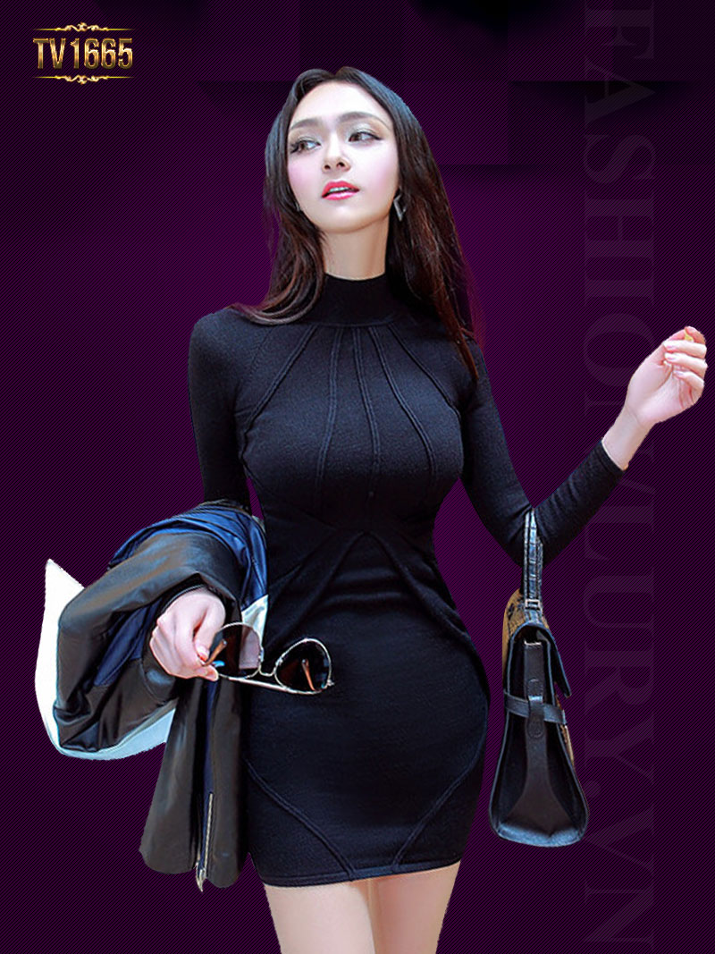 Đầm body cổ cao TV1665 mới 2017 sọc gân thời trang (Màu đen)