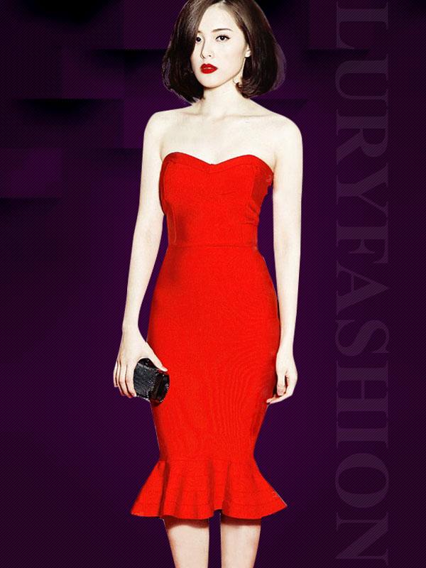 Đầm body đuôi cá cúp ngực đơn sắc cao cấp ( dáng ngắn ) TV715 (Màu đỏ)